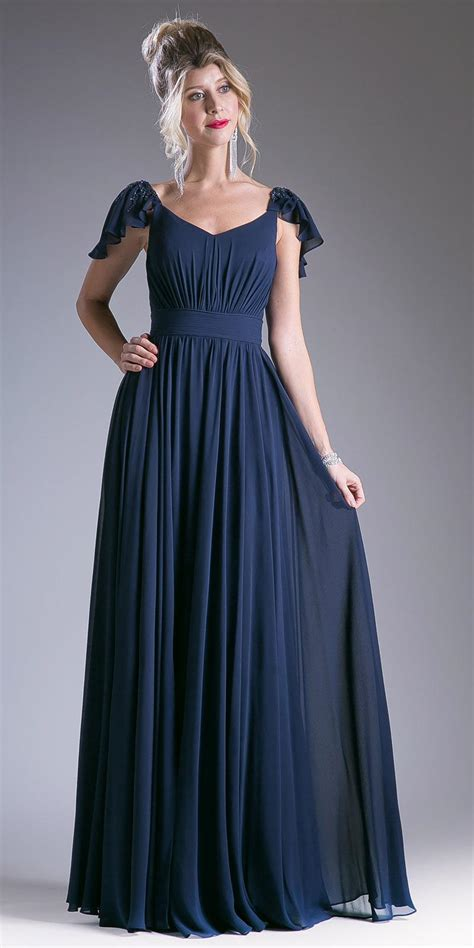 Navy Blue Beaded Flutter Sleeves Floor Length Formal Dress