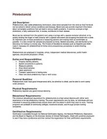 Entry Level Phlebotomist Resume Objective by Entry Level Phlebotomy Resume Sle Phlebotomy Resume