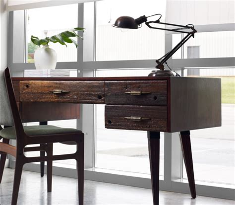 rustic wood desk make your office more eco friendly with a reclaimed wood desk