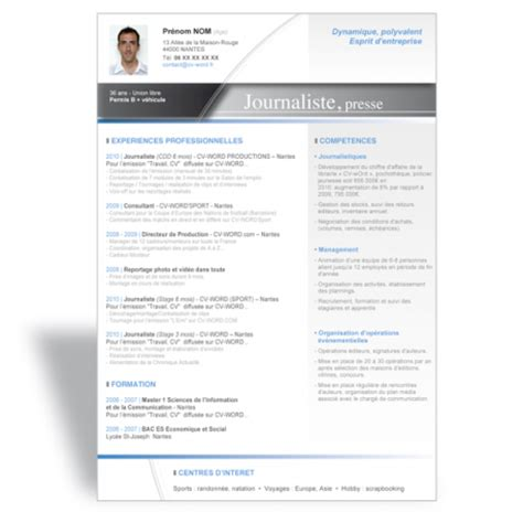 Créer Cv Word by Resume Format Mod 232 Le Cv Journaliste