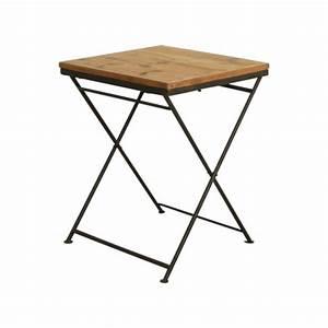 Table Pliante Metal : table de bistrot en bois et ses pieds en fer pliants ~ Teatrodelosmanantiales.com Idées de Décoration