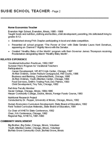 Exles Of Resumes For Student Teachers by Home Economics Resume Exle