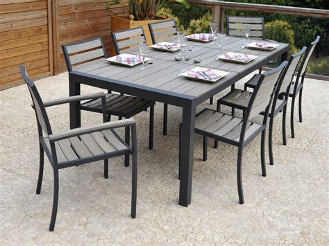 Salon de jardin en aluminium u0026quot;Newportu0026quot; - Table + 6 chaises 55376