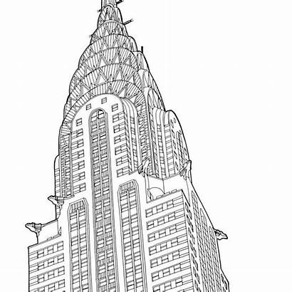 Coloring Buildings Adult Pages Places Printables York