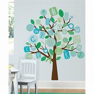 Wandtattoo Baum Kinder : wandsticker wandbild baum alphabet blau abc wandtattoo ~ Whattoseeinmadrid.com Haus und Dekorationen