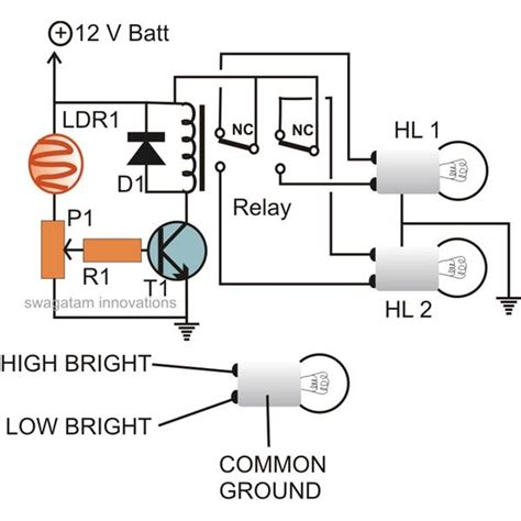 Auto Dimmer Switch Wiring Diagram by Automatic Vehicle Headlight Dipper Dimmer Circuit Wiring