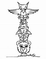 Totem Poles Coloring Animal Pole Drawing Snake Wolf Cartoon Totems Templates Sheets Printable Drawings Craft Native Horse sketch template