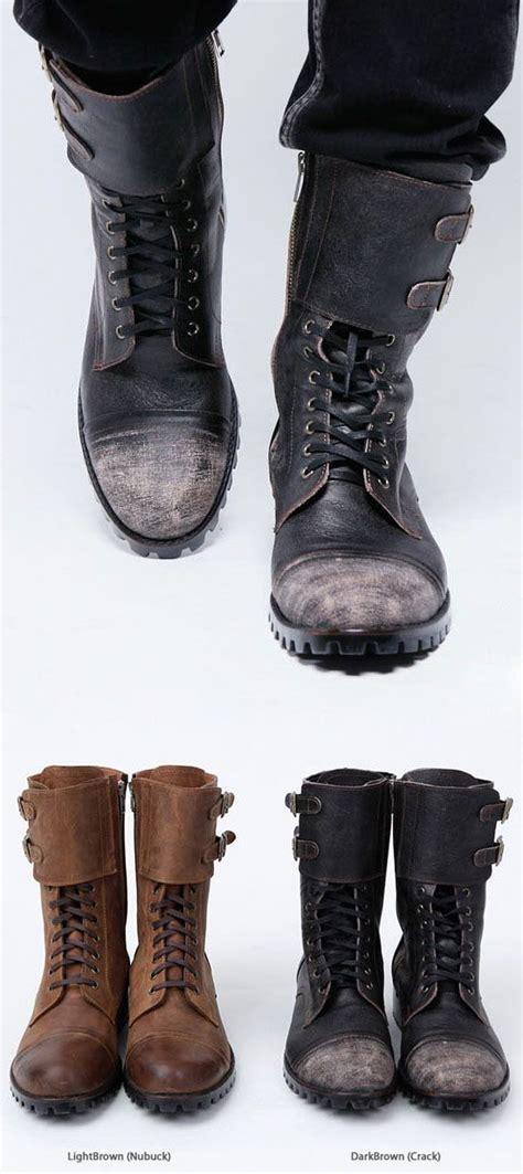 Shoes Military Vintage Biker Boots Mens