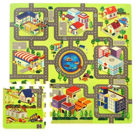 tapis route pour petites voitures tapis puzzle enfant en mousse circuit de voiture en ville