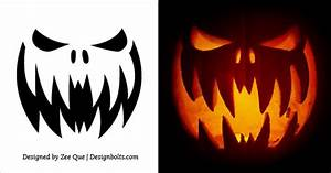 10 free printable scary halloween pumpkin carving patterns With scary jack o lantern face template