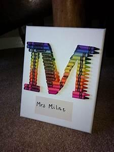 crayon art letter m teacher gift teacher present With crayon letter art for teacher