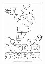 Ice Cream Coloring Pages Printable Cone Colouring Icecream Sheets Sheet Colour Getcoloringpages Sweet sketch template