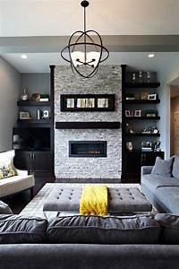 Floating shelves next to fireplace living room beach style