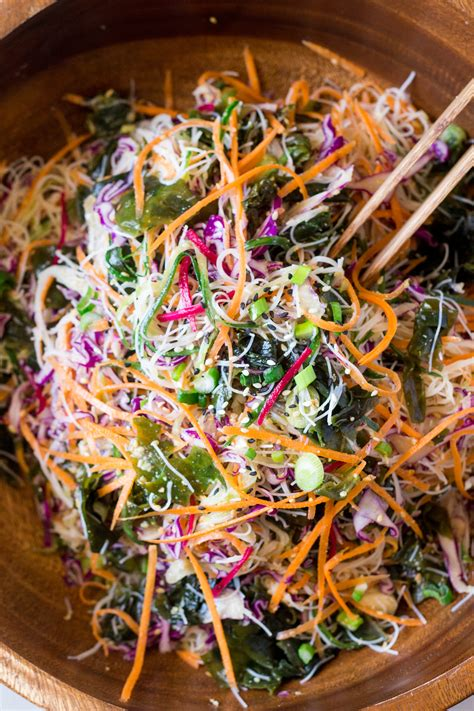 vegan rice noodle salad  sesame dressing lazy cat