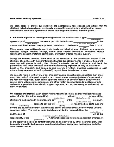 shared parenting plan template shared parenting agreement free