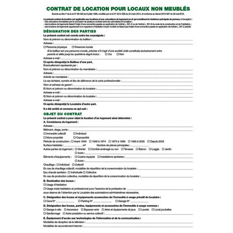Exemple Contrat De Location Meublee Modele Contrat De Location Non Meublee Document