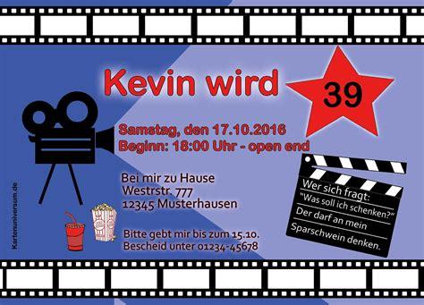 einladung geburtstag kino vorlage einladungskarten