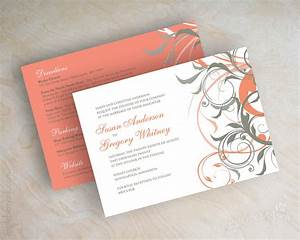 coral and gray wedding invitations coral and grey wedding With blank coral wedding invitations