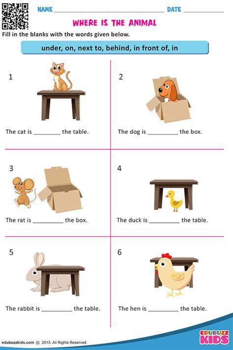 printable prepositions worksheets  kindergarten