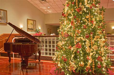 christmas tree  piano stock photo image