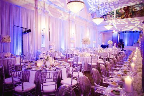 reception decor  purple  white ballroom