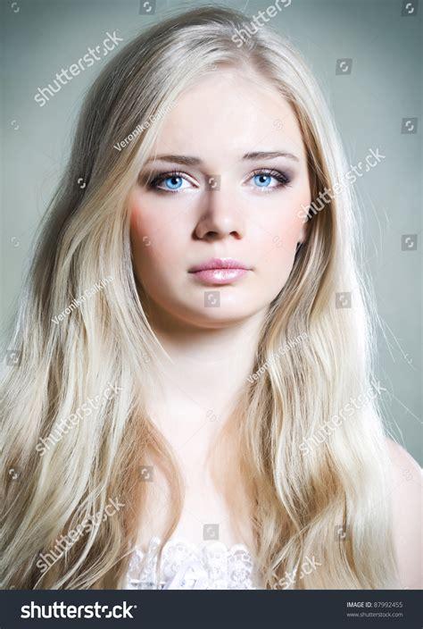 Beautiful Young Girl Long White Hair Stock Photo 87992455