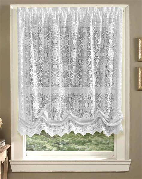 white lace balloon shade jacquard window curtains