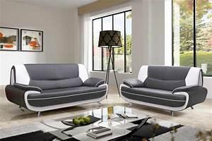 Canapé 3 Places Gris : deco in paris canape 3 2 places gris et blanc marita marita ~ Teatrodelosmanantiales.com Idées de Décoration