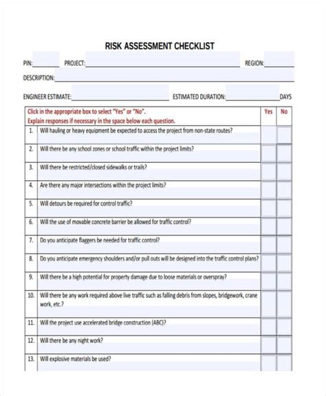 Risk Self Assessment Template by 11 Assessment Checklist Templates Free Sle Exle