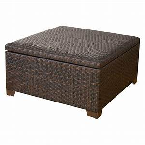 Wicker brown indoor outdoor storage ottoman ottomans for Wicker storage ottoman