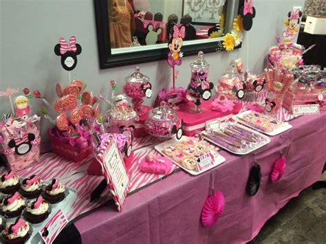 minnie mouse themed candy buffet ideas table