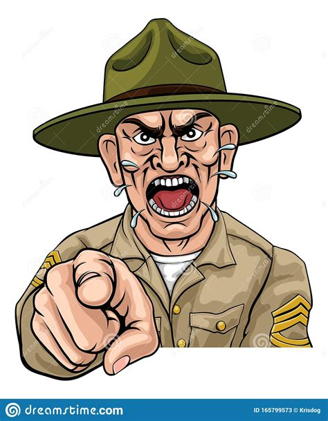 Angry Army Bootcamp Drill Sergeant Cartoon Vector ...