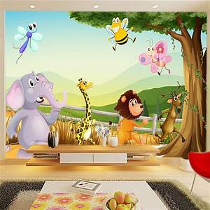Cartoon 3D wallpaper Forest Zoo Wall Murals Personalized ...
