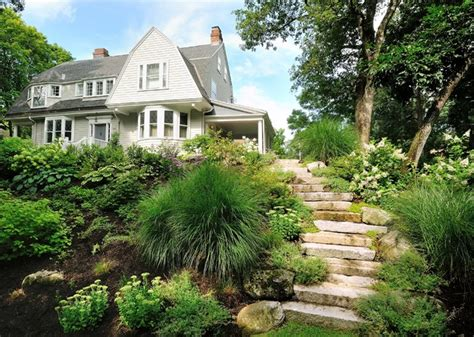 house on hill landscaping newton ma front yard renovation contemporary landscape boston by sallie hill design