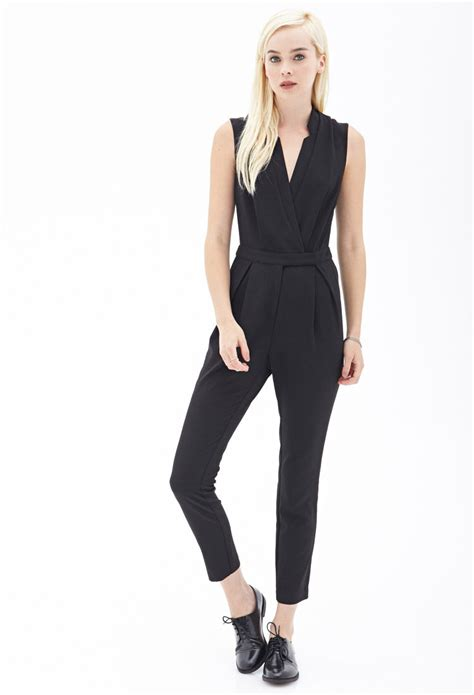 jumpsuit forever 21 forever 21 woven surplice jumpsuit in black lyst