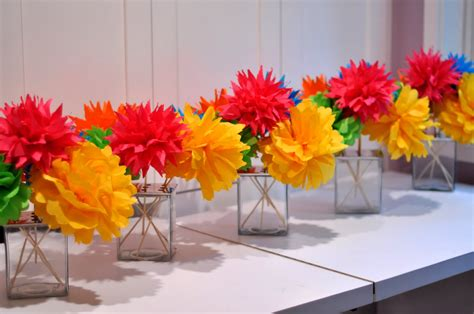 paper centerpieces for tables colorful paper flowers wedding reception décor ideas