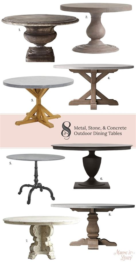 round outdoor dining table for 8 8 round metal stone concrete outdoor dining tables