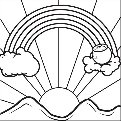 FREE Printable Rainbow With a Pot of Gold Coloring Page