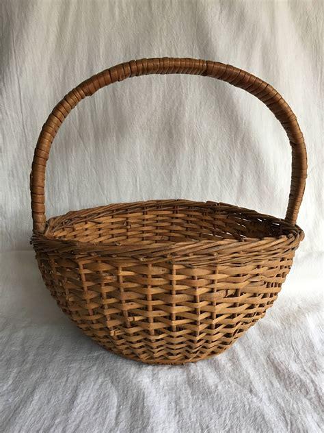 Basket bag vintage baskets basket primitive decorating basket weaving old baskets crates wicker comfy decor. Rustic Wicker Gathering Basket | Wicker, Basket, Home goods decor