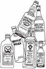 Drawing Alcohol Liquor Bottles Stress Release Easy Coloring Pages Sketches sketch template