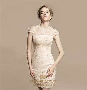 Stylish photos of short lace ivory wedding dresses for Ivory short wedding dress