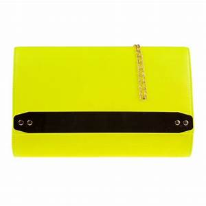 Jane Over sized Neon Yellow Clutch With Gold Strip Detail