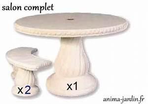 Salon De Jardin En Pierre : table en pierre reconstitu e ronde 120cm avec frise grandon achat vente ~ Teatrodelosmanantiales.com Idées de Décoration