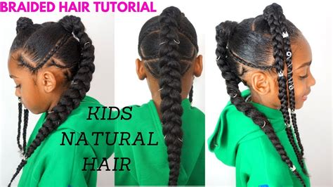 Kids Natural Hair Tutorial / Quick Braided Hairstyle For