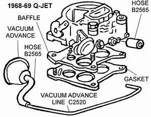 1968-69 Q-jet Vacuum Advance View - Diagram View