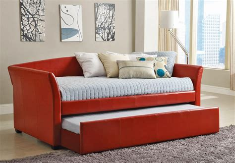 30355 furniture trundle bed modernday delmar leather daybed with trundle