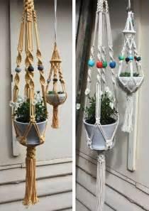 suspended crochet planters macrame plant hangers