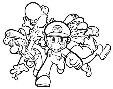 Colouring Pages Of Mario Yoshi Luigi And Wario For Kids