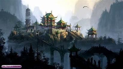 Temple Japanese Chinese Fantasy Palace Mountains Creepy