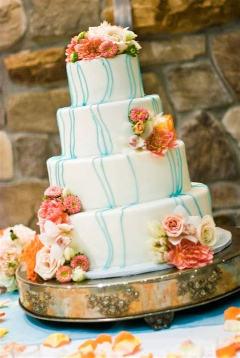 Wedding Cake With Coral Colored Flowers Wedding Stuff